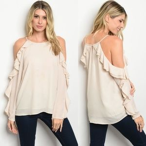Cream long sleeve ruffle chiffon cold shoulder top